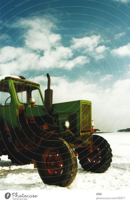 tractive power Tractor Beach Clouds Winter Vintage car Transport Snow Sky Sun