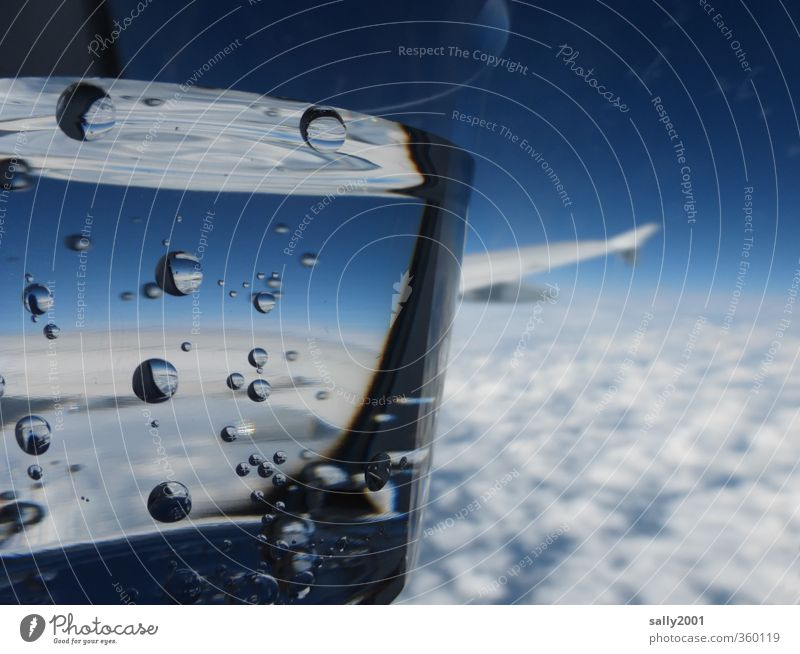 Refreshing above the clouds... Beverage Cold drink Drinking water Mug Sky Clouds Aviation Airplane In the plane View from the airplane Flying Dream Above Blue