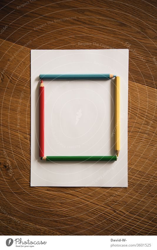 Crayons as square crayons pens colors colourful Painting (action, artwork) creatively Creativity flaked Piece of paper Copy Space Paper Draw Colour photo Art