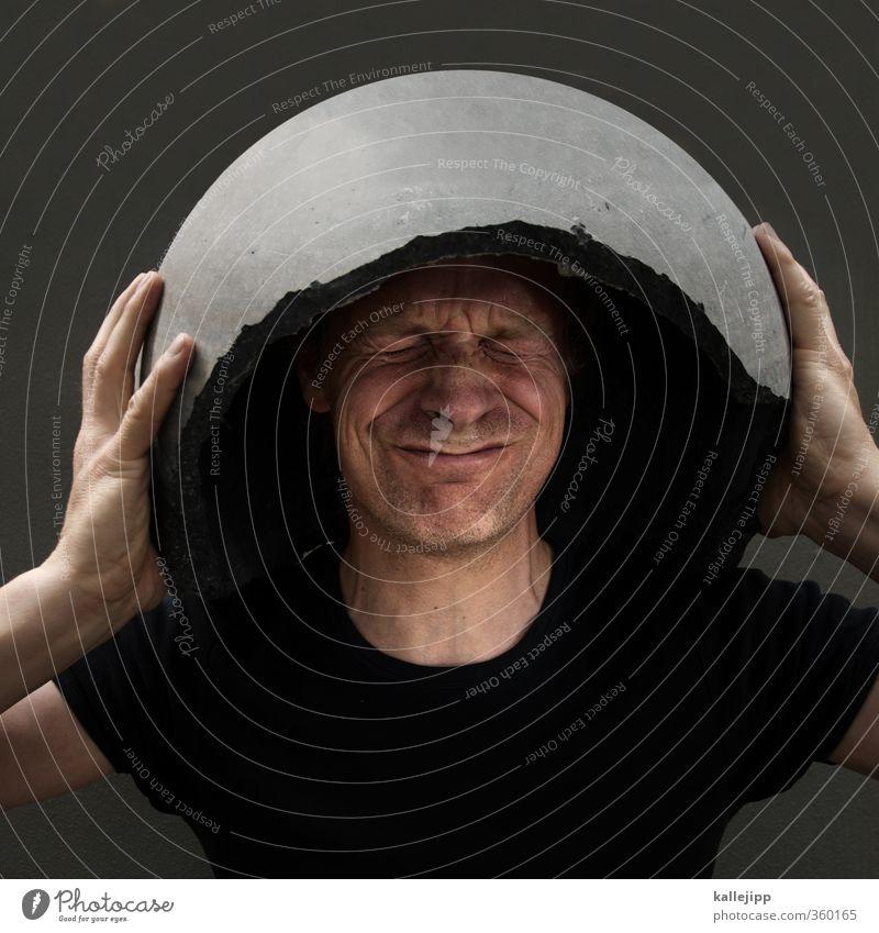 concrete head Human being Masculine Man Adults Face 1 Fear Dangerous Stress Protection Helmet helmet obligation Concrete Dugout Colour photo Exterior shot Light