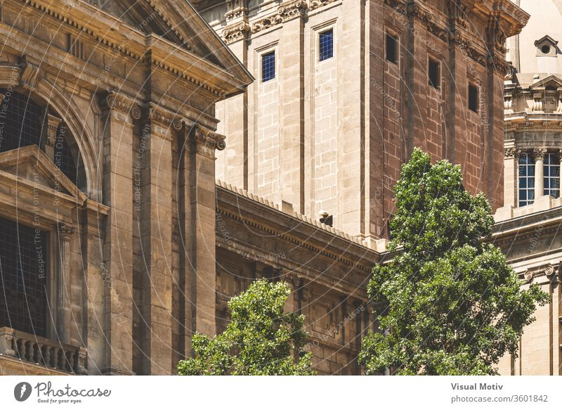 Detail of the Spanish Renaissance architecture of the National Art Museum of Catalonia in Barcelona aka MNAC detail decorative ornament historic corinthian