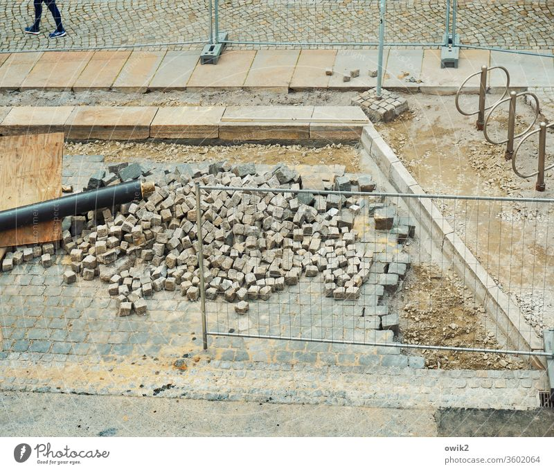 Let's go foot Legs Human being Going take off Construction site Paving stone Street out Footwear Woman Walking Asphalt Exterior shot feminine Stand Gray Stone