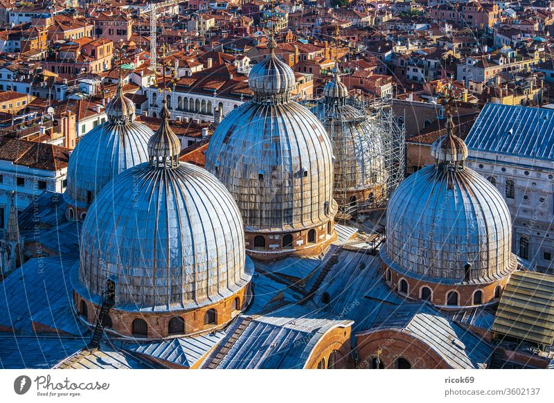 Historical buildings in the old town of Venice in Italy Church St. Mark's Basilica Basilica of San Marco vacation voyage Town Architecture Facade dome Tower