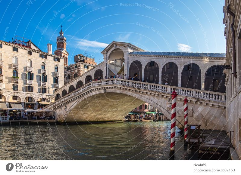 View of the Rialto Bridge in Venice, Italy bridge vacation voyage Ponte di Rialto Town Architecture House (Residential Structure) built Historic Old