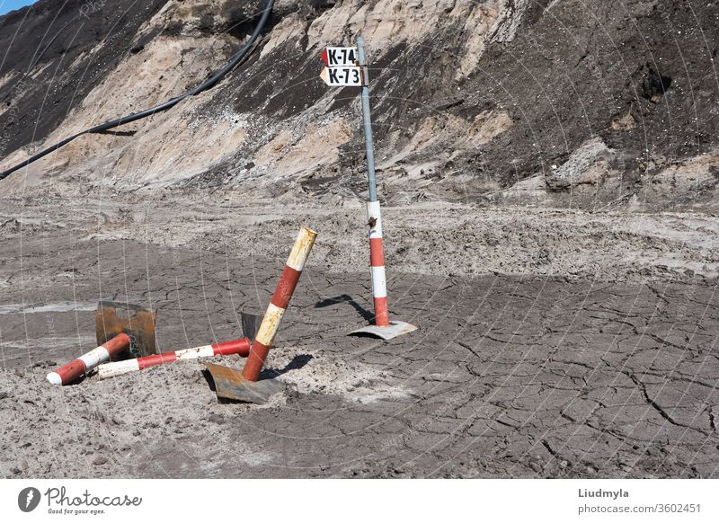 Soil erosion and cracks  as a result of human mining activitiesat the quarry. Environmental concept. work surface engineering dirt soil erosion earthworks turf