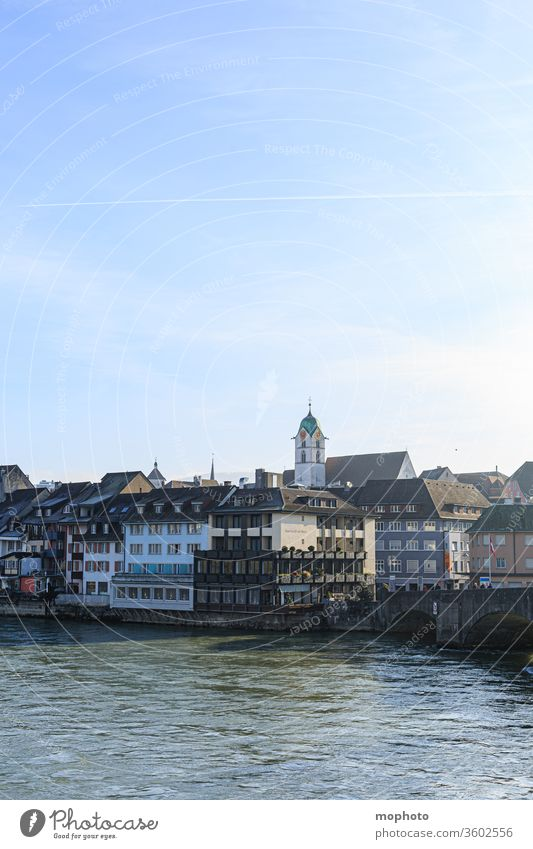 Buildings on the Rhine, old town, Rheinfelden, Aargau built houses Old town bathe Baden-Wuerttemberg bridge arches Germany Flow River Border border river