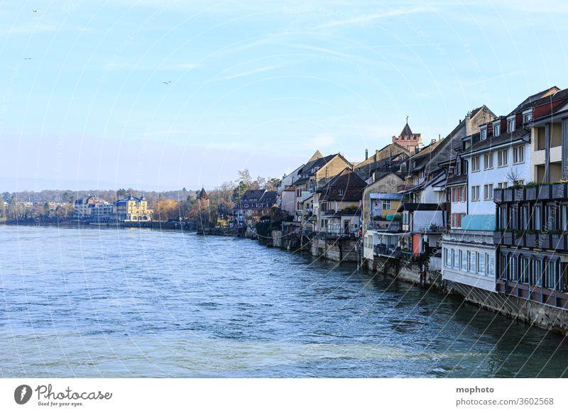 Buildings on the Rhine, old town, Rheinfelden, Aargau built houses Old town bathe Baden-Wuerttemberg Germany Flow River Border border river