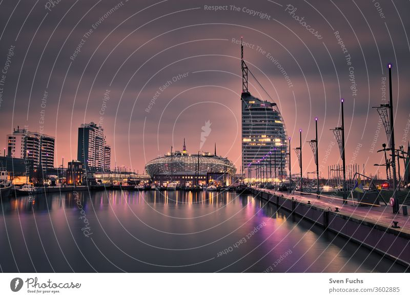 Havenwelten in Bremerhaven during the blue hour havenwelten Harbour Harbor city Skyline Sunset Long exposure Town Architecture cityscape Water travel built
