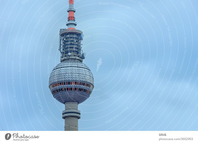 Berlin Television Tower - A landmark from the GDR - the Berliner Fersehturm television tower, Berlin, Brandenburg, Germany. Television tower Broadcasting tower