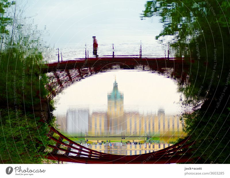 mirrored cast-iron bridge in the castle park Panorama (View) Sunlight Reflection Abstract Lanes & trails Surrealism Historic Relaxation Tourist Attraction