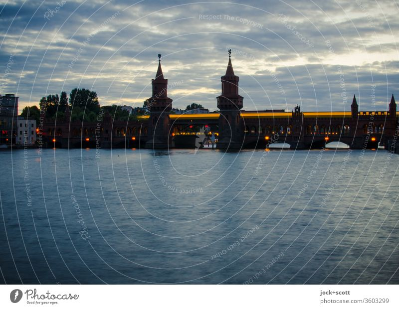 Thoughts and ideas like plays of light at dusk Moody Dusk Panorama (View) Long exposure Light (Natural Phenomenon) Silhouette Inspiration Bridge Spree River