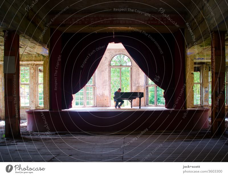 Old | lost acoustics in the hall Make music Pianist Sanitarium Ravages of time lost places Piano Transience Nostalgia Inspiration Romance Historic Drape Ruin