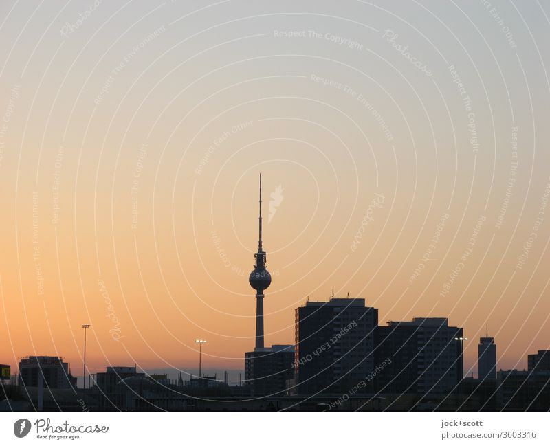 in the evening the eastern sky begins to change its colour timidly, even the orange colouring will end quietly Cloudless sky Downtown Berlin Capital city