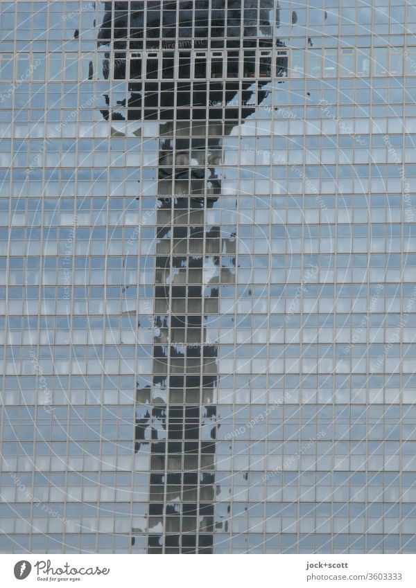 Time for reflection from the television tower Reflection Silhouette Landmark Berlin TV Tower Sharp-edged Modern Structures and shapes Subdued colour Glas facade