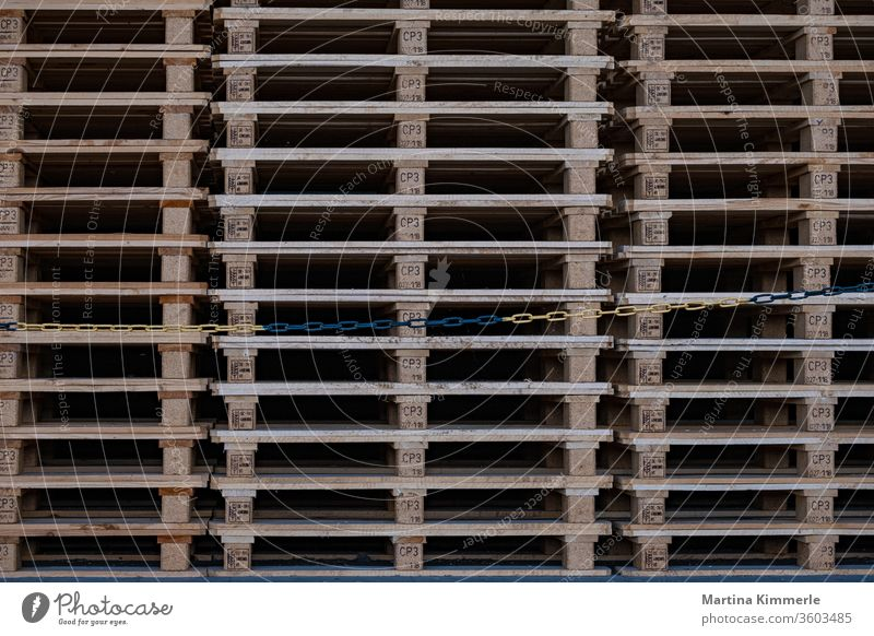 Wooden pallets neatly stacked wood Industry Chain Construction Truck logistics Pattern Shipping structure texture Transport