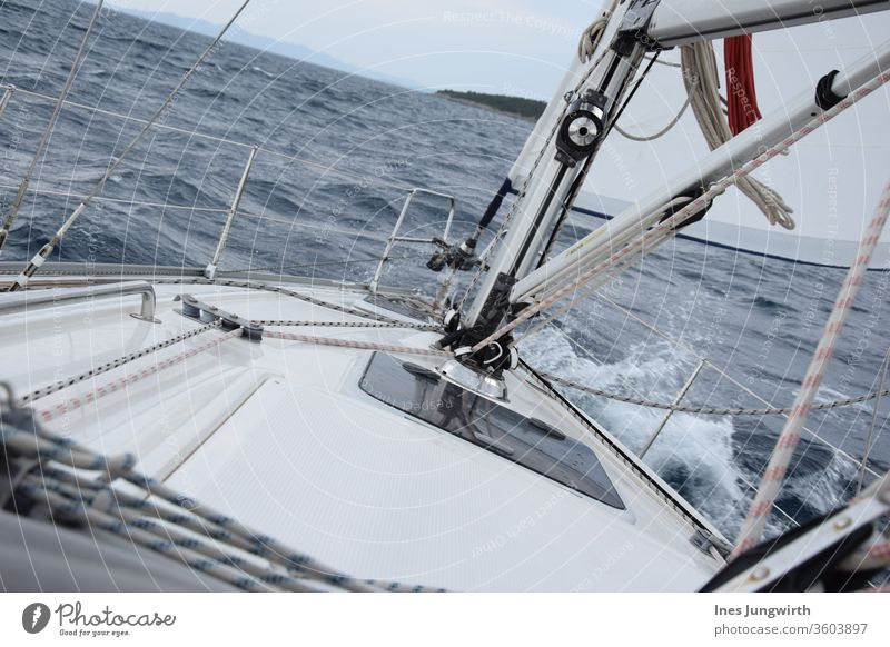 Sailing is diagonal Adriatic Sea Family Domestic happiness Family outing Holidaymakers Vacation good wishes Sailboat Vacation mood vacation Vacation photo