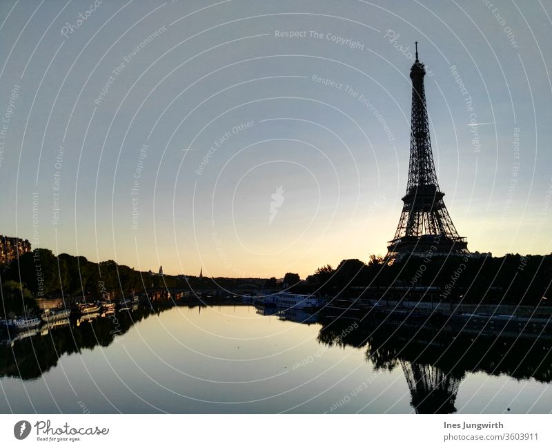 chill out in Paris in the early morning France Eiffel Tower eiffel tower River Seine Capital city City Town Downtown Exterior shot Vantage point Sunlight Sky