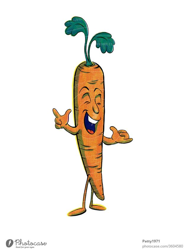 Funny cartoon carrot isolated against a white background Cartoon Comic Isolated Image Face Drawing Illustration Multicoloured Creativity Vegetable