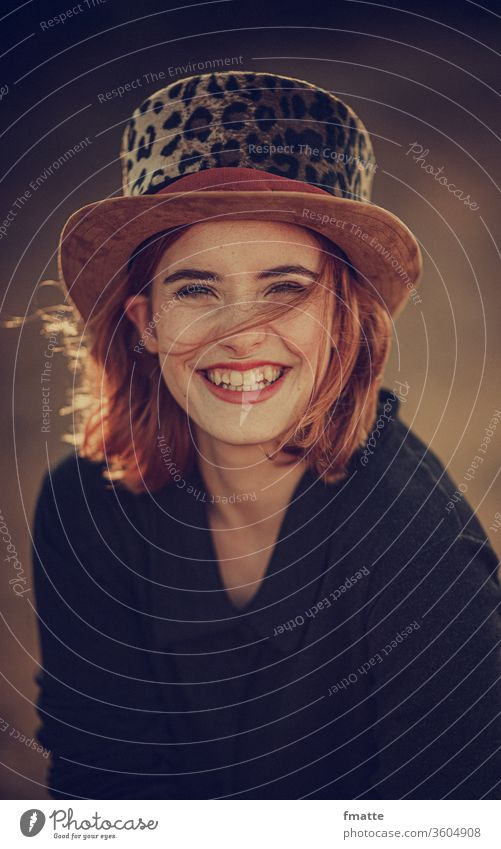 smile.  Woman with top hat and a nice smile smiling woman Joy Sympathy Happiness Laughter Self-confident Love Friendship glad luck fortunate Self-confidence