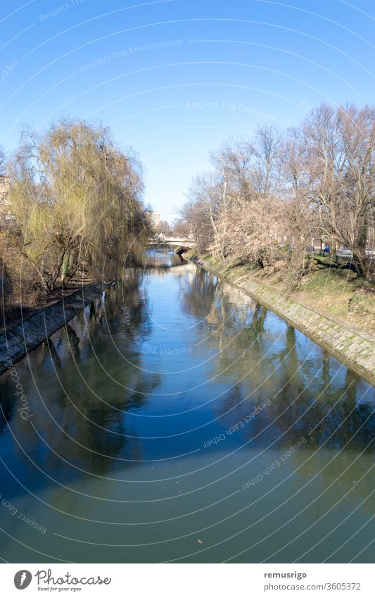 A view of the Bega river from a bridge 2013 Romania Timisoara architecture bega blue building city cityscape construction day exterior house landmark landscape