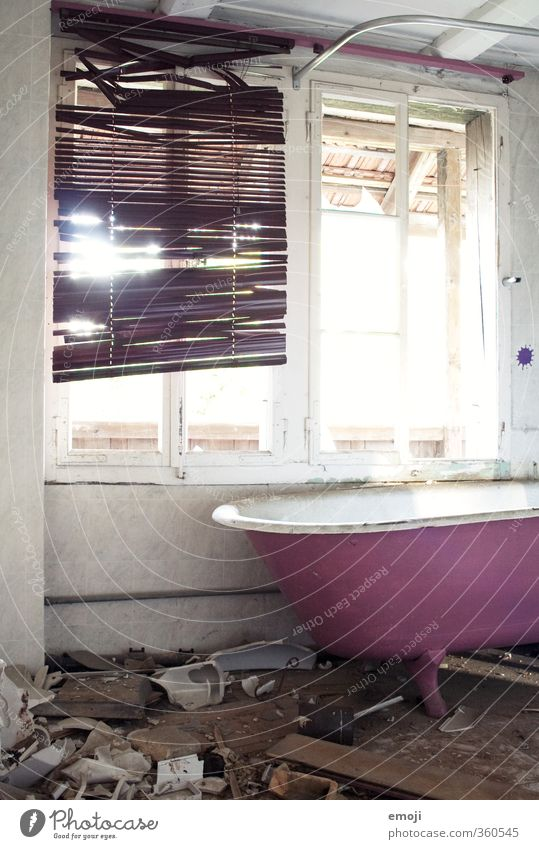 PINk House (Residential Structure) Hut Wall (barrier) Wall (building) Window Bathtub Screening Exceptional Dirty Pink Devastated Building for demolition