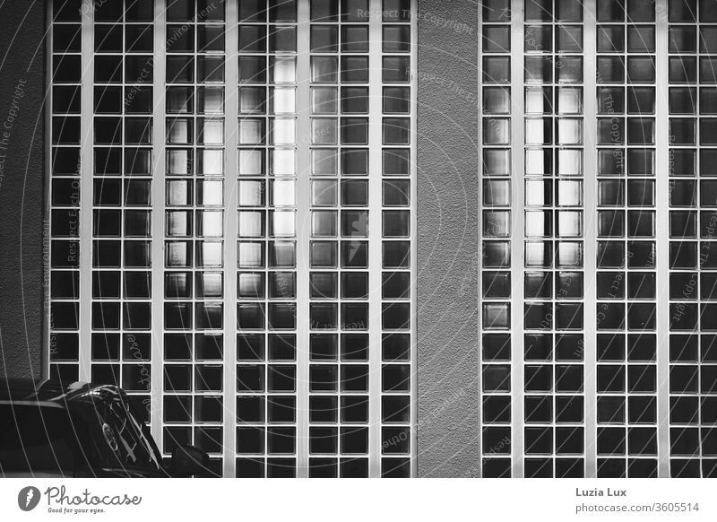 Glass blocks, light and reflection in SW car Light Reflection Deserted deserted free text space Exterior shot Day Copy Space bottom Copy Space top Shadow