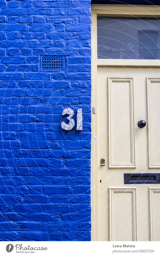 number 31 in a colorful house from Nothing Hill blue door Nothing hill london home travel house number exterior urban colorful wall
