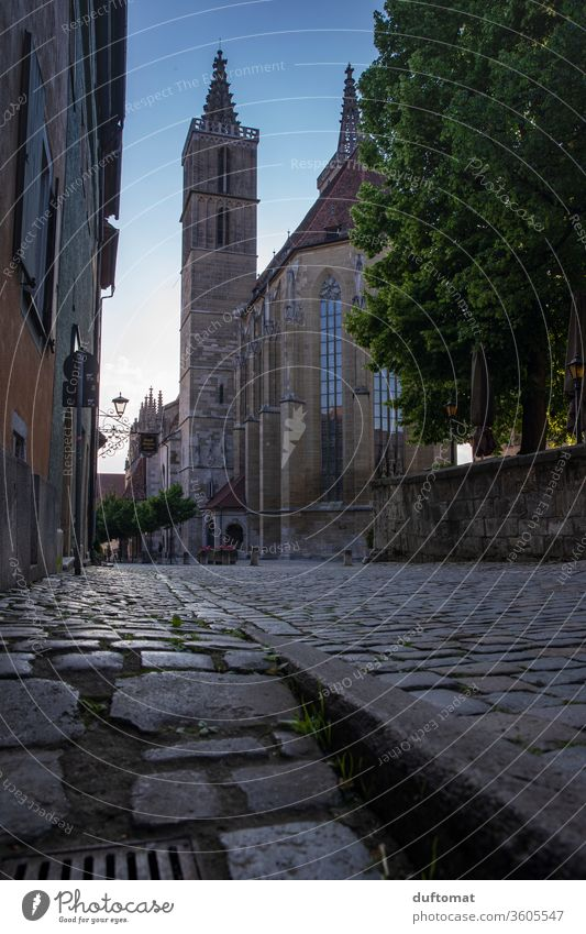 Rothenburg ob der Tauber, frog's-eye view of St. Jakosbkirche Calm Idyll half-timbered romantic Little town idyllic Empty Church out natural romantic street
