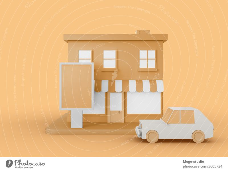 3D Illustration. Cartoon city shop with blank ad. 3d logo promo mock-up illustration render shopping commerce branding outside space copy advertise announcement