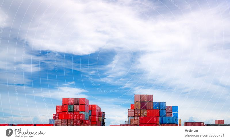 Container logistic. Cargo and shipping business. Container ship for import and export logistic. Container freight station. Logistic industry from port to port. Container at harbor for truck transport.