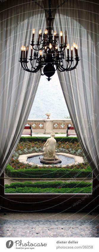 palace window garden Chandelier Ambient Drape Architecture Castle yard lock window castle fountain aristocratic Noble