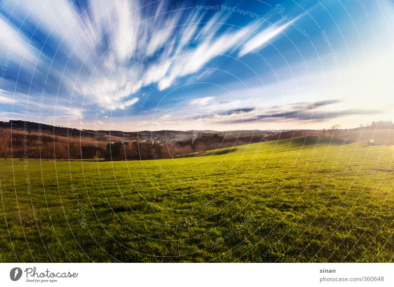 Sauerland Relaxation Calm Far-off places Summer Nature Landscape Plant Sky Clouds Horizon Sun Sunlight Weather Grass Meadow Exceptional Gigantic Infinity Blue