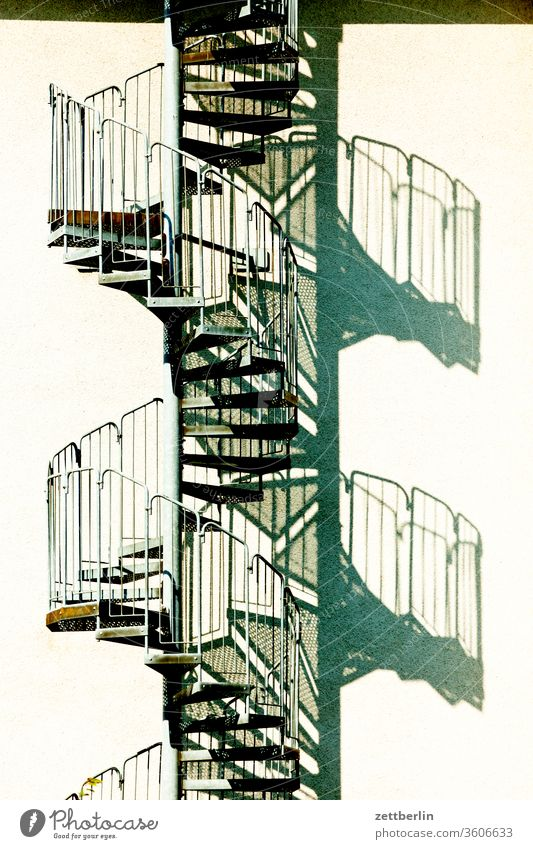 spiral staircase Stairs Winding staircase External Staircase Escape route emergency staircase House (Residential Structure) Apartment Building Deserted