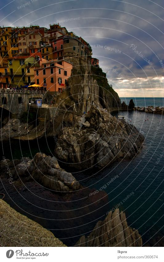the stairs in village of manarola in the north of Ocean Mountain House (Residential Structure) Climbing Mountaineering Rope Sky Clouds Hill Rock Coast Village