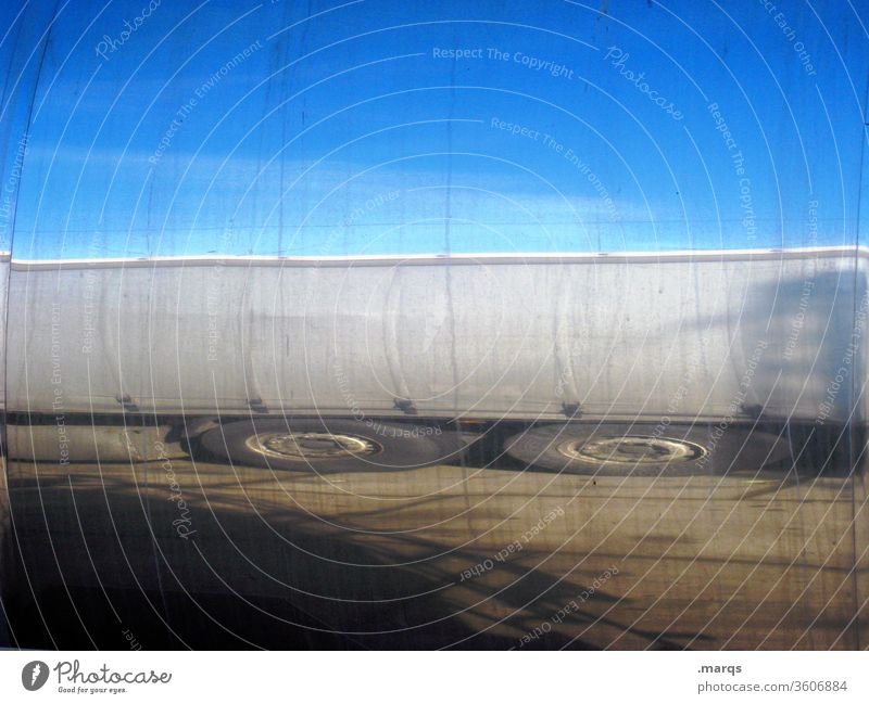 tank truck Logistics Truck Mobility Economy Means of transport Transporter SME Cloudless sky Environment Tanker truck Reflection Distorted