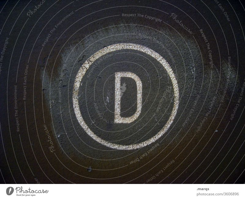 Indicator D letter D alphabet Germany Circle Gray White Metal Symbols and metaphors Typography
