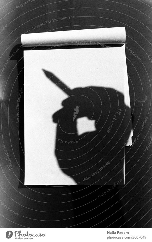Shadow note Analogue photo by hand notepad Paper pen Black & white photo Write White School Pen Empty Blank Idea author