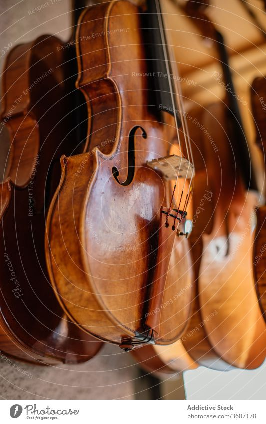 Set of varnished handmade violins hanged for drying on balcony instrument workshop create process wooden row craft dried musical craftsmanship workmanship