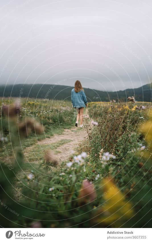 Traveling woman on path in field meadow flower travel walk summer overcast sky female pathway nature vacation freedom grass countryside plant green landscape