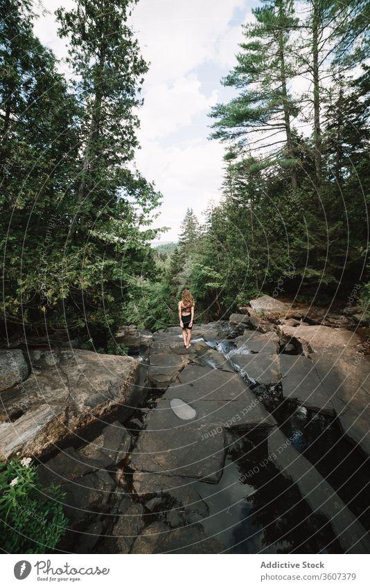 Unrecognizable woman near forest river stone tree explore admire national park la mauricie quebec canada fast green nature rock journey trip tourism adventure