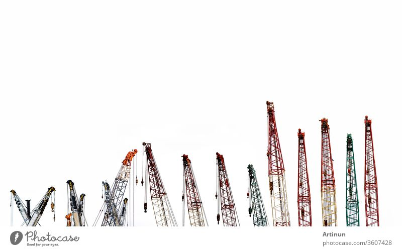 Set of big construction crane for heavy lifting isolated on white background. Construction industry. crane for container lift or at construction site. Crane rental business concept. Crane dealership.