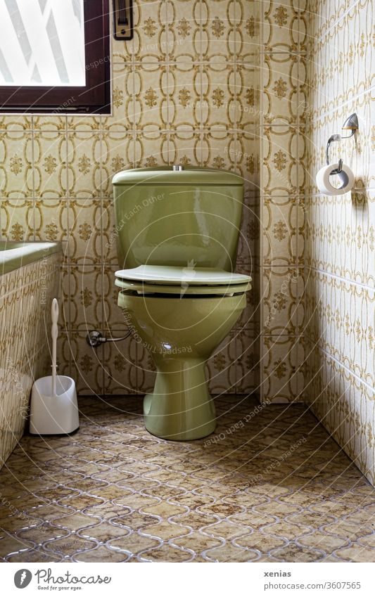 old / green toilet between discreetly coloured tiles in retro look Toilet Old LAVATORY Retro Green bathroom Bathroom john toilet brush Bathtub Former 00 then