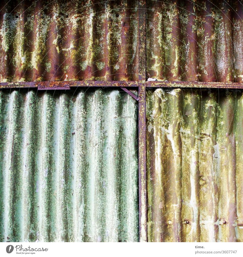 it was a long time ago Old Inspiration Hard Surface Wall (building) Metal Tin lines green Yellow unclean Corrugated sheet iron Trashy Dirty worn-out Warehouse