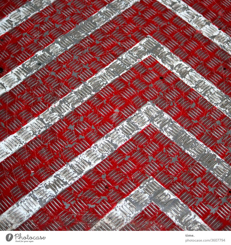 art before construction Line Design Gray Parallel Stripe angles Red Metal building sheet Direction Dirty Trashy worn-out Construction site Notches mark non-slip