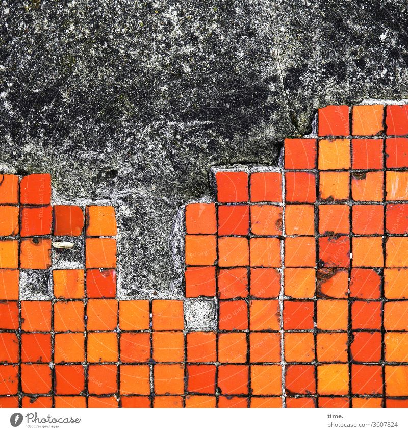 old | big city at night Wall (building) squares Orange tile mark Design Parallel Stripe Red Dirty Trashy worn-out Construction site Notches Surface texture Line