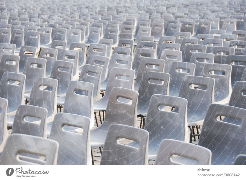 Chair rows Sit chairs Seating Furniture Empty Places Rome Peter's square pope audience Row of seats Arrangement Seating capacity Gray Many Event Audience