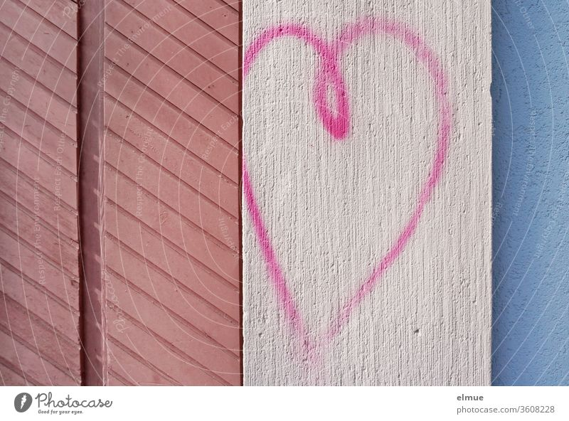 *800* I pink heart, painted on a wall between other coloured wood and plaster structures Heart Facade Love Wall (building) Geometry Colour