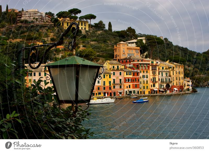 village of portofino in the north of italy,l Ocean Mountain House (Residential Structure) Climbing Mountaineering Rope Nature Sky Clouds Tree Leaf Hill Rock
