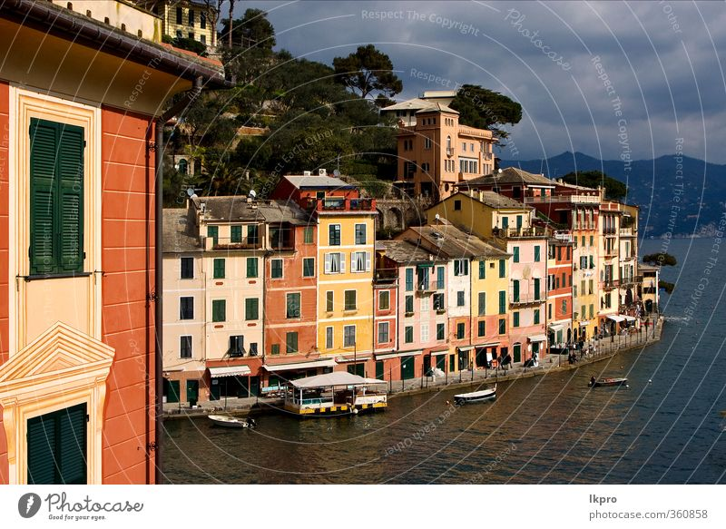 the village of portofino in the north of italy,l Ocean Mountain House (Residential Structure) Climbing Mountaineering Rope Nature Sky Clouds Tree Leaf Hill Rock