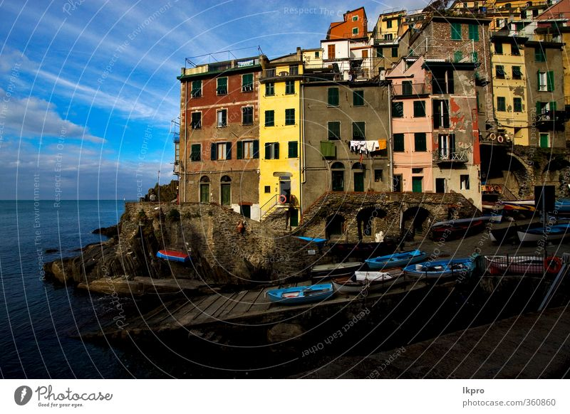 the stairs in the village of riomaggiore in the no Ocean Mountain House (Residential Structure) Climbing Mountaineering Rope Sky Clouds Rock Coast Village Town